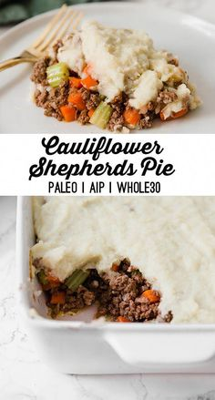 Pie (Paleo, AIP) This cauliflower shepherd's pie is a comfort food classic made lower carb! It's paleo, and AIP compliant.This cauliflower shepherd's pie is a comfort food classic made lower carb! It's paleo, and AIP compliant. Best Paleo Recipes, Whole 30 Recipes, Lunch Recipes, Low Carb Recipes, Diet Recipes, Recipes Dinner, Diet Desserts, Delicious Recipes, Vegetarian Recipes
