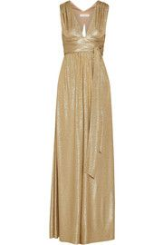 Belted metallic cloqué gown