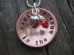 Love is the answer handstamped copper necklace by Lolasjewels, $23.00