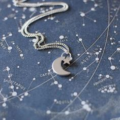 Tiny Crescent Moon and Star Necklace. Silver Moon Charm Necklace. Small Star Pendant Necklace.