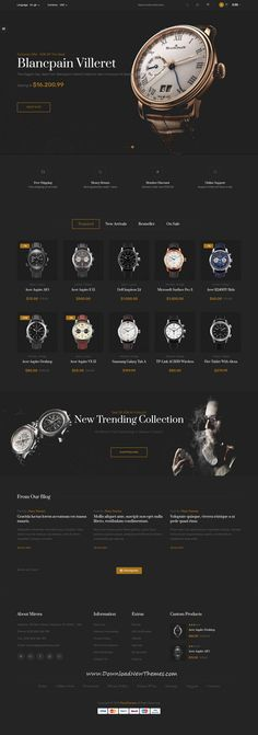 Buy Mirora - Watch & Luxury Store Opencart Theme by Plaza-Themes on ThemeForest. Go in the trend with Mirora Responsive Opencart theme. Mirora is the elegant and modern watch theme. Website Layout, Web Layout, Layout Design, Website Design Inspiration, Luxury Website, Luxury Store, Ecommerce Website Design, Newsletter Design, Modern Design