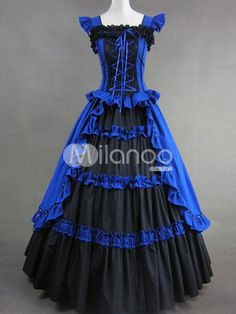 Royal Blue And Black Elegant Gothic Victorian Dress