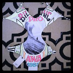 "❣ClosetClearOut❣*NWT* RARE Billabong Monokini BNWT//Extremely Rare//Vintage Print ""Hawaii 1985""//Size fits like Medium or Petite Large Billabong Swim One Pieces"