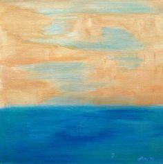 Blue Abstract Landscape Into the Sea River by PuzzledbyArtmondo