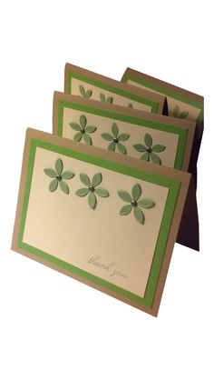 Thank You Cards, modern thank you notes, handmade cards, tan and green notecards