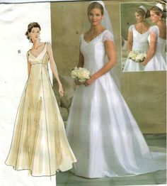 Vogue 2906 Bellville Soon Bridal Original Sewing Pattern Dress With Train Size 6 10 Uncut Pinterest Dresses Patterns And