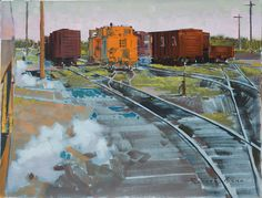 The Red Caboose near Swan River Manitoba is a painting created by Robert Genn in Find out more at Mayberry Fine Art. Canadian Painters, Canadian Art, Art Toronto, Art Brut, Building Art, Landscape Paintings, Landscapes, Artist Painting, American Artists