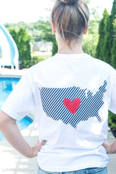 DIY Pocket Tee sewing tutorial for the 4th of July  - includes templates for the pocket and outline of the USA . Love the patriotic design