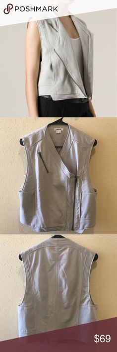 Helmut Lang leather vest Asymetrical light gray lamb leather. Perfect condition. Helmut Lang Jackets & Coats Vests