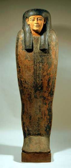 Egyptian Wooden Anthropomorphic Lid from a Sarcophagus with Painted Interior