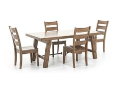 Sierra 5-pc. Dining Set - The Sierra dining set consists of solid mahogany ladder-back side chairs with wood seat and a dining table is built out of distressed mahogany solids in a dry leaf finish and industrial turnbuckle accent.