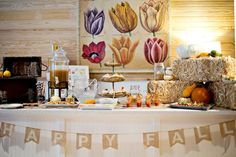 Rustic Thanksgiving party table! See more party planning ideas at CatchMyParty.com!