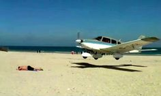 Pilot Juergen Drucker, was flying his Piper Archer II along coast of Germany when he came within inches of landing on the sunbathing tourist in Dune, Heligoland, an island in the north. Military Aircraft, Sun Lounger, Airplane, Landing, Fighter Jets, Pilot, German, Island, Adventure