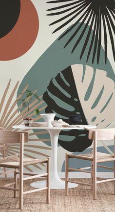 Minimal Yin Yang Monstera 1 wall mural from Happywall Diy Wall, Wall Decor, Mural Wall Art, Painting On Wall, Painted Wall Murals, Wall Paintings, Yin Yang, Bedroom Murals, Wall Drawing