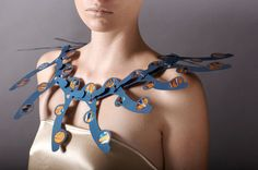 Podium,Neckwreath,Blue,Artist, Jeweller, statement, art jewellery, neckpiece Poppy Porter