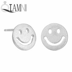 Party Jewelry 925 Sterling Silver Lovely Funny Smile Face Piercing Stud Earring for Women Girls Christmas Gift Accessories