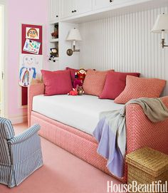 An Avery Boardman daybed in the daughter's room is upholstered in Alan Campbell's vivacious Kells II.   - HouseBeautiful.com