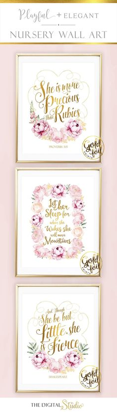 Pink and Gold Nursery Decor- A great addition to any Pink and Gold Nursery. Gold Foil Lettering with pink flowers.Set of 3 Nursery Prints. Gold Nursery Decor, Nursery Prints, Nursery Room, Nursery Wall Art, Girl Nursery, Baby Room, Baby Decor, Wall Prints, Baby Girl Quotes
