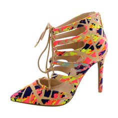 Anne Michelle - Women's Lacy Up Pointy Heels - Neon Pink/Multi