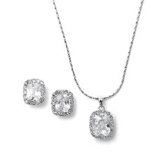 CZ Cushion Cut Bride or Bridesmaid Necklace Set  Everything But The Wedding Dress, www.EverythingButTheWeddingDress.com