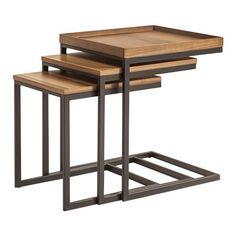 Set of 3 Cooper Side Tables, Walnut/Grey