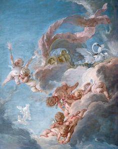 The Car of Venus Renaissance Kunst, Renaissance Paintings, Angel Aesthetic, Blue Aesthetic, Aphrodite Aesthetic, Images Esthétiques, Aesthetic Painting, Art Hoe, Classical Art