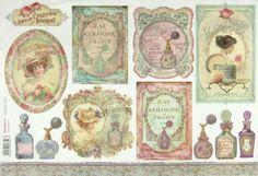 Ricepaper/Decoupage paper,Scrapbooking Sheets Eau de Cologne