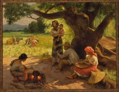 """""""Farmers Working and Resting"""", 1955  By Fernando Amorsolo, Filipino, 1892-1972  (Oil on canvas)."""