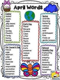 April Word List: A word list with April related themes which is great for projects and activities. I use them mainly for writing stories and poems. Designed by Rockin Resources Kindergarten Writing, Teaching Writing, Teaching English, Writing Binder, Teaching Ideas, Speech Language Pathology, Speech And Language, Spelling Words, English Lessons