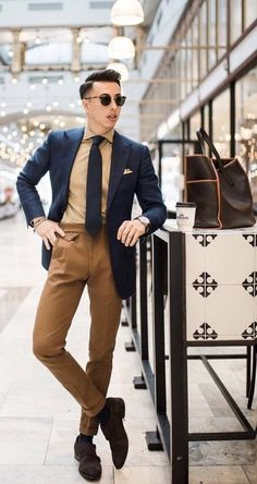 summer mens fashion which look cool 597751 Brown Pants Outfit, Trendy Mens Fashion, Men Fashion, Fashion Edgy, Fashion Photo, Herren Outfit, Men Formal, Formal Wear, Gentleman Style