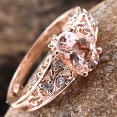 Marropino Morganite, Cambodian Zircon Vermeil RG Over Sterling Silver Ring (Size TGW cts. Morganite Jewelry, Rose Gold Morganite Ring, You Look Stunning, Pink Tone, Pink Sapphire, Sterling Silver Rings, Cuff Bracelets, Lavender, Gemstones