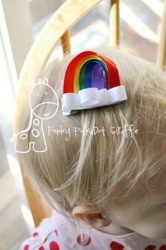 Somewhere Over the Rainbow Hair Bow Clip by mormishmom on Etsy Ribbon Hair Clips, Diy Hair Bows, Ribbon Bows, Ribbons, Ribbon Crafts, Look Festival, Baby Girl Hair Bows, Ribbon Sculpture, Ribbon Design
