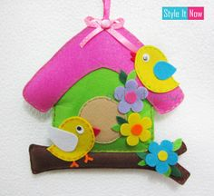 Felt Bird House Wall Hanging