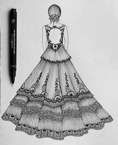 Dress drawing inspired by lace patterns. Dress Design Drawing, Dress Design Sketches, Fashion Design Sketchbook, Fashion Design Drawings, Dress Drawing, Fashion Design Illustrations, Art Drawings Sketches Simple, Girl Drawing Sketches, Doodle Art Drawing