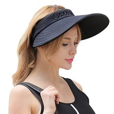 CACUSS Women s Summer Sun Hat Large Brim Visor Adjustable... Hats For Short  Hair 54283d2b5d9e