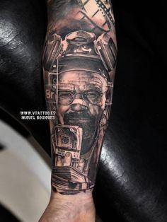 Tatuaje de estilo black and grey de Walter White.