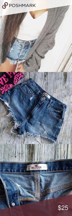 Hollister high-waist denim distressed shorts Hollister high waist denim distressed shorts  tie dye pockets Size 0/24 EUC Hollister Shorts Jean Shorts