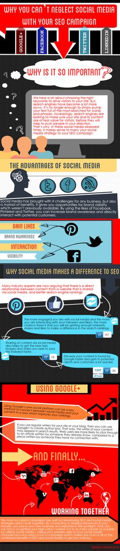"SOCIAL MEDIA - ""Why You Can't Neglect Social Media With Your SEO Campaign #SEO #SocialMedia #Infographic""."