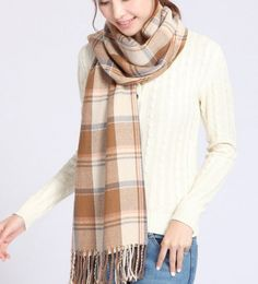 2017 New Winter Women Tassels Beige Check Warm Scarves Neck-Wraps Muffler Shawl #Unbranded #Scarf #Casual
