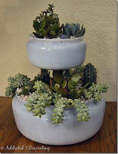 "<p>Only three items were used, two from lamps to make this :: <span style=""text-decoration: underline;""><strong><a href=""http://www.addicted2decorating.com/two-tiered-tabletop-planter.html"" target=""_blank"">Tiered Lampshade Planter</a><br /></strong></span></p>"