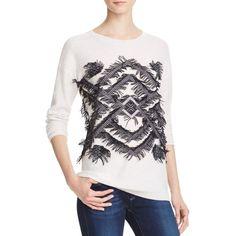 Aqua Cashmere Geo Fringe Cashmere Sweater (145 BGN) ❤ liked on Polyvore featuring tops, sweaters, aqua top, fringe sweater, j.crew cashmere sweaters, crewneck sweaters and white cashmere sweater