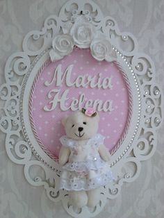 Enfeite Quadro Porta Maternidade Provençal Com Ursinho - R$ 99,90 no MercadoLivre Girl Nursery, Girl Room, Baby Room, Nursery Decor, Baby Shower Crafts, Baby Crafts, Diy And Crafts, Deco Buffet, Baby Frame