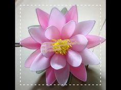 ดอกบัวสายผ้าใยบัว how to make stocking flower(lily water) by fb: ployandpoom ( ผ้าใยบัว) - YouTube