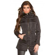 Dames winterjas met riem zwart