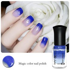 Thermal Nail Polish Color Changing Peel Off Varnish Dark Blue to Transparent