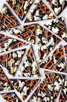 Sweet meets salty in this easy recipe for dark chocolate bark topped with popcorn, pretzels and sprinkles.