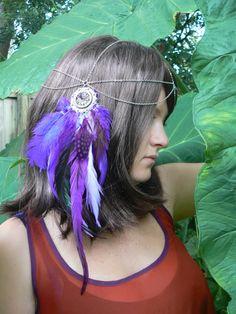 feather head chain dreamcatcher headdress coachella purple tribal fusion Native American inspired boho gypsy hippie hipster style
