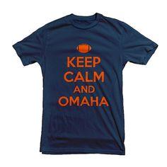 Keep Calm Peyton  Manning Omaha -  denver broncos super bowl football t-shirt - Navy Blue mens tshirt