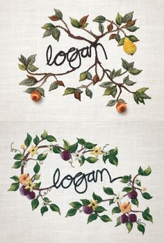 Hand-embroidered design for Logan Wines - also check out their stunning cellar door in Mudgee