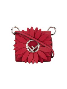 Shop Fendi Red Kan I F micro leather bag